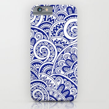 Midnight Blue Maze iPhone & iPod Case by PeriwinklePeacoat