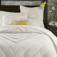 Ruffled + Ruched Quilt, Full/Queen, Stone White