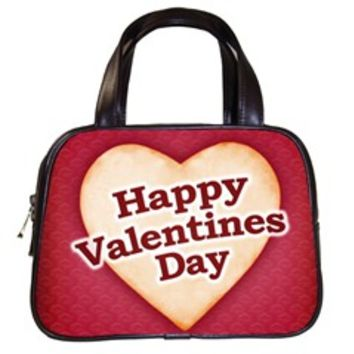 Heart Shaped Happy Valentine Day Text Design Classic Handbag (One Side)