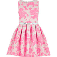 River Island Girls pink jacquard floral prom dress