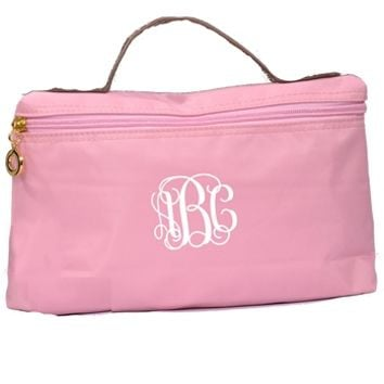 Travel Basics Monogrammed Pouch - Pink