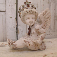 White cherub statue hand painted distressed French Nordic angel with handmade crown carved in the Santos style Anita Spero Design
