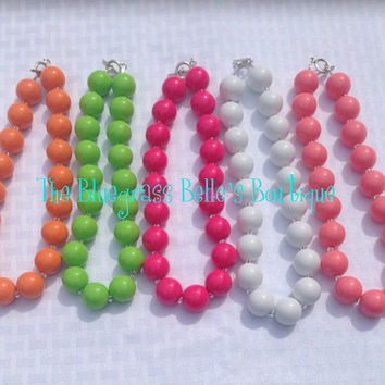 Solid Color chunky bubblegum bead necklaces - solid chunky bead necklaces - colorful chunky bead necklaces - girls chunky bead necklaces