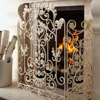 Antiqued-White Fire Screen - Horchow