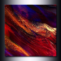 12 x 12 Giclee Print: Jewel Toned Burgundy Red and Ultramarine Blue