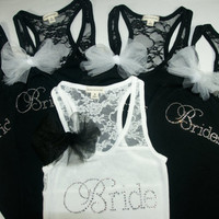6 Bridesmaid Tank Top Shirt. Half Lace. Bride, Maid of Honor, Brides Entourage. Matron of Honor, Bridzilla, Wifey, I do, mother of the bride