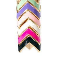 ASOS Multi Pack Enamel Zig Zag Rings at asos.com