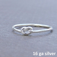 Love knot silver ring, first knuckle ring, sterling silver above knuckle infinity ring, pretzel knot mid finger ring 16 gauge jetteam