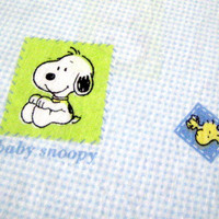 Baby Snoopy Fabric - Light Blue Gingham Woodstock - destash FQ Fat Quarter