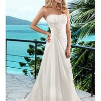 [$160.03 ] Elegant Chiffon A-line Scoop Chaple Wedding Dress For Your Beach Wedding - Edressbridal.com