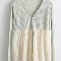 Green White Hollow Lace Single Breasted Wool Sweater - Sheinside.com