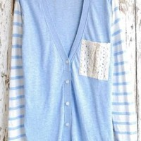 Light Blue Lace Pocket Single Breasted Sweater - Sheinside.com