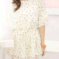 Beige Round Neck Half Sleeve Floral Loose Ruffles Chiffon Dress - Sheinside.com