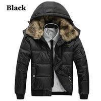 Fur Collar Puffer Jacket With Hood