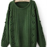 Twist Round Neck Green Sweater - Designer Shoes|Bqueenshoes.com