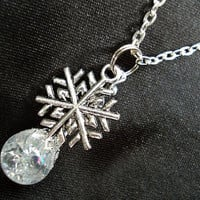Winter Snowflake Crystal Crackle Glass Marble Necklace