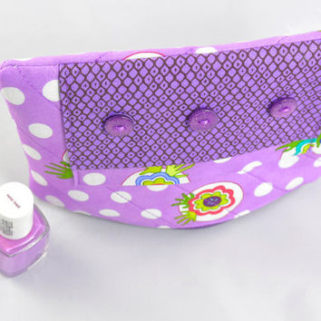 Handmade Quilted Coin Purse Wallet Key Ring Purple Polka Dot