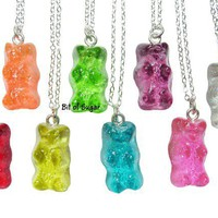 Candy Bear Necklace - Kawaii fake gummy miniature food jewelry