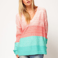 ASOS Pastel Jumper In V Neck Colourblock at asos.com