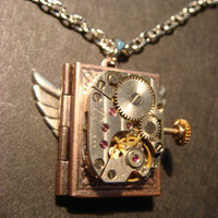 Steampunk Neo Victorian Watch Movement LOCKET Necklace with Wings (578)