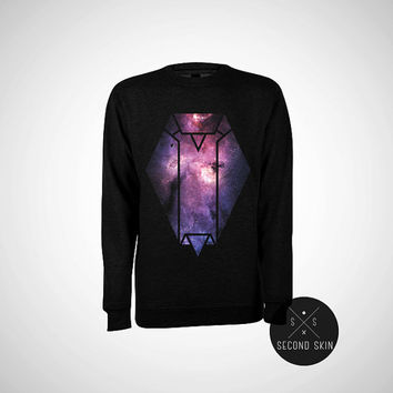 Space Owl Screen printed Fleece Crewneck Pullover Sweatshirt - Unisex