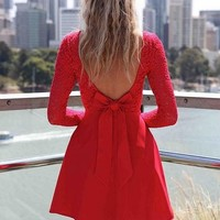 Red Sleeve Scoop Bow Dress | Glamfoxx