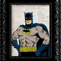Buy 2 Get 1 FREE -Retro Vintage Batman 1 Dictionary Print Vintage Book Print Page Art Upcycled Vintage Book Art
