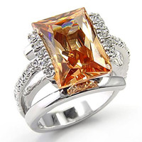 Bold Champagne Cubic Zirconia Ring - Size 5 / champagne