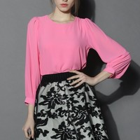 In Love with Pink Chiffon Top