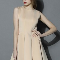 New Favored Pleated Dress in Nude