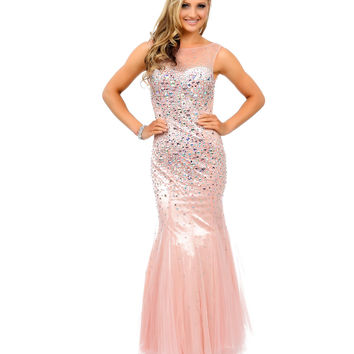 Blush Pink Crystal Beaded Chiffon Open Back Mermaid Long Gown Prom 2015