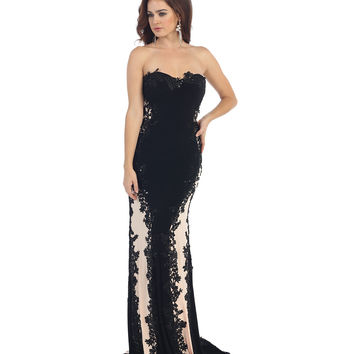Black & Nude Strapless Lace Gown Prom 2015