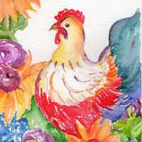 Original Hen watercolor painting - Chicken Art
