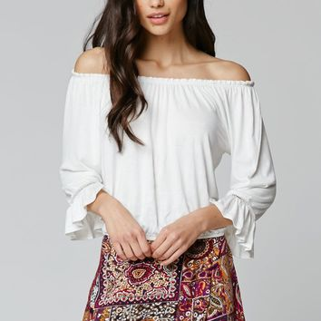 LA Hearts Off The Shoulder Top - Womens Tee - White