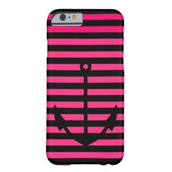 Black Pink Striped Nautical Anchor - iPhone 6 Case