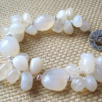 Boho, chunky white agate bracelet. Luminous gemstones catch the light and glow! Silver accents. Everyday style