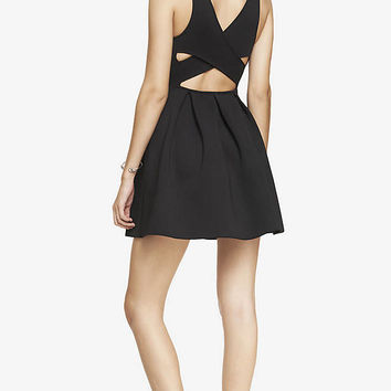 STRUCTURED CROSS BACK FIT AND FLARE DRESS from EXPRESS