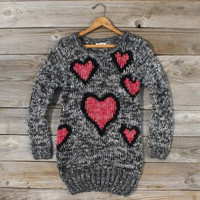 Cozy Hearts Sweater Dress, Sweet Bohemian Sweaters