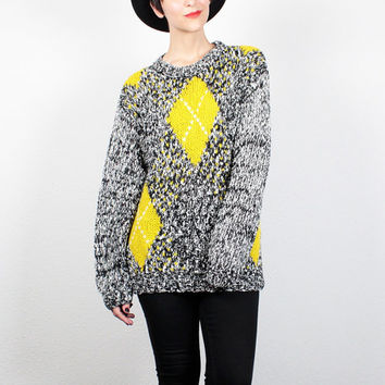 Vintage 80s Sweater Black White Yellow Gray Nubby Knit Jumper 1980s Argyle Sweater New Wave Cosby Sweater Mod Oversized Pullover M Medium