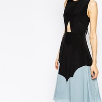See by Chloe Sleeveless Silk Midi Dress with Cut Out Front and Colour Block Hem