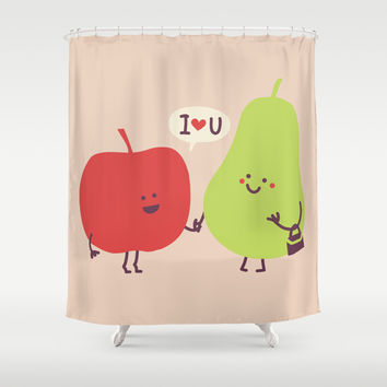 Mister apple and miss pear Shower Curtain by Budi Satria Kwan
