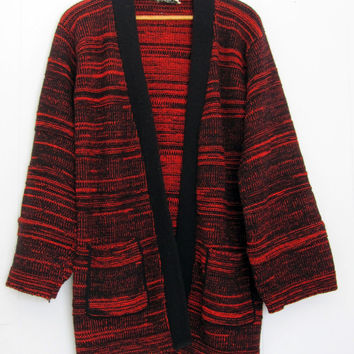 Vintage 70s Acrylic Knit Sweater Cardigan Space Dye Red Black Small