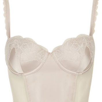 Satin and Lace Bralet - White