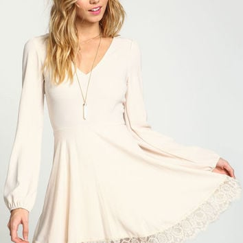 CREAM LACY WOVEN FIT AND FLARE DRESS