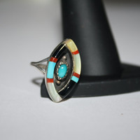 Heirloomed Beautiful Abalone, coral and turquoise Vintage Ring Size 4.5 - free ship US