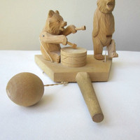 Wooden Carved Russian Toy - Vintage