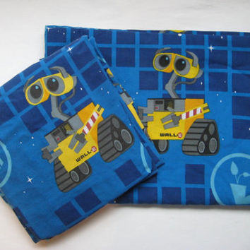 Disney Wall E Robot Blue TWIN Size Flat Fitted Sheets Boy Girl Kids Bedding 2 Piece Craft Fabric Supply Used Clean