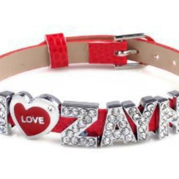 I love zayn I Love One Direction red Wristband Bracelet Slider Zircon Crystal Letter: Jewelry: Amazon.com