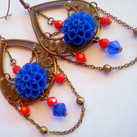 Unique pair long dangle flower earrings