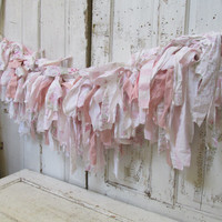 Tattered fabric pink garland very full Shabby cottage chic floral and striped torn pieces home decor anita spero design
